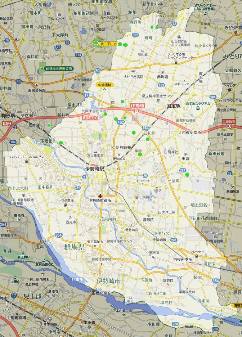 伊勢崎市と周辺の 遺跡と古墳伊勢崎市の遺跡・古墳一覧伊勢崎市近隣の遺跡・古墳一覧