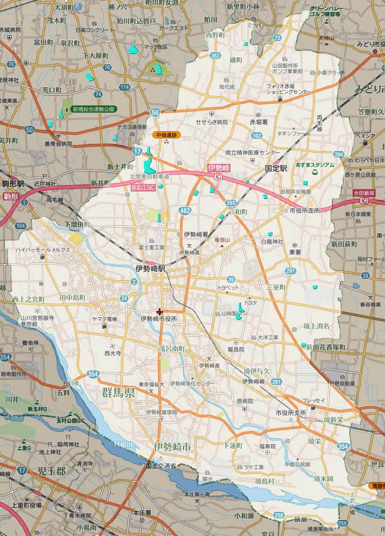 伊勢崎市と周辺の沼一覧マップで検索